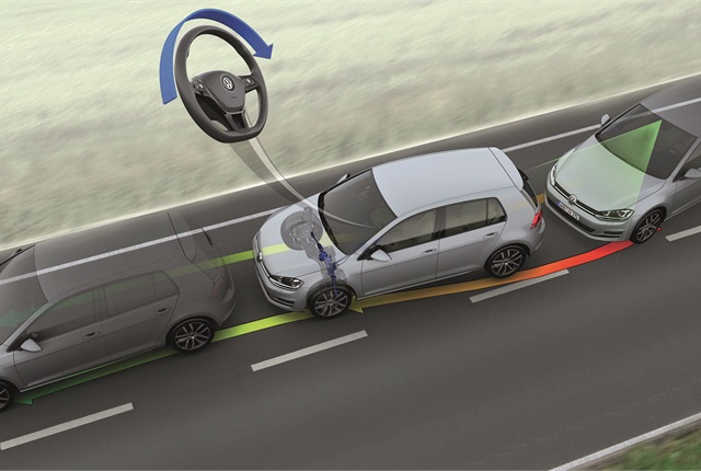 Image of active lane departure warning system courtesy of Volkswagen.