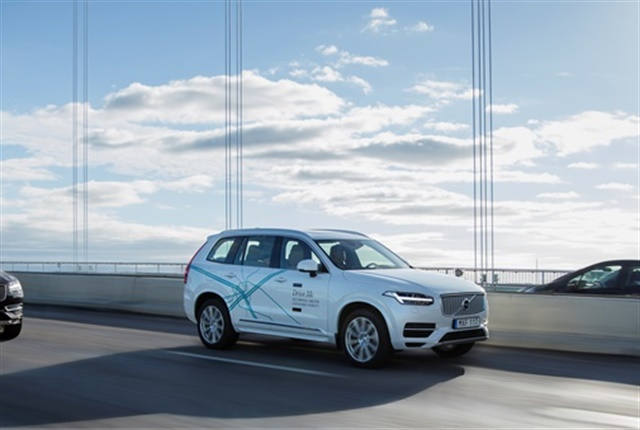 One of Volvo's XC90 Drive Me research cars on the autonomous drive route in Gothenburg, Sweden. Photo courtesy of Volvo Cars.