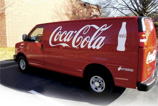 Coca-Cola hybrid delivery van, photo courtesy of XL Hybrids.