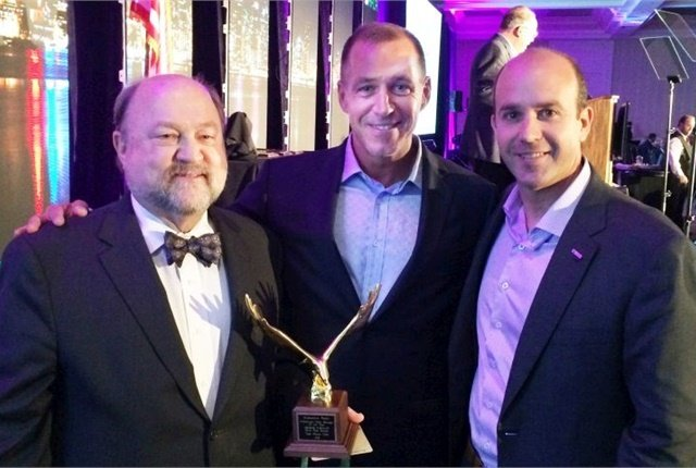 George Survant (left), the 2016 Fleet Manager of the Year with Automotive Fleet's Sherb Brown (center), and Wheels, Inc.'s Dan Frank. Photo courtesy of AFLA.