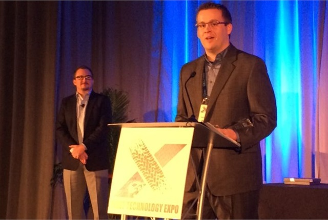 Photo of Jeff Moody being recognized as the Fleet Visionary of the Year honoree at the Fleet Technology Expo in 2016 by Chris Wolski.