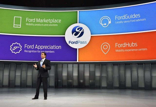 Mark Fields, President and CEO of Ford, talks about FordPass at the North American International Auto Show. Photo courtesy of Ford.