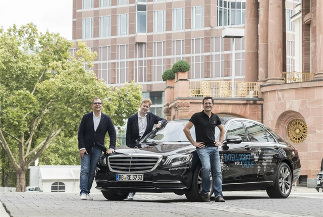 <p>This autonomous vehicle, based on the Mercedes-Benz S-Class, will visit all five continents as part of the Intelligent World Drive project. <em>Photo courtesy of Mercedes-Benz.</em></p>