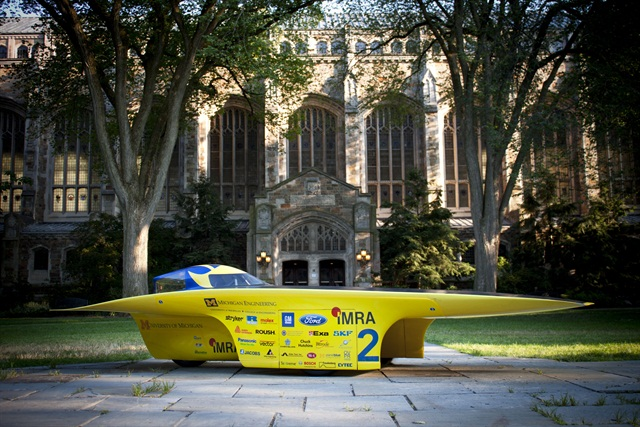 Quantum parked in front of the University of Michigan's Law Quad. Photo Credit: Diane Thach