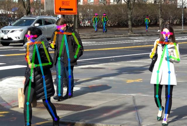 The MIT AgeLab and Toyota CSRC set up a camera system at a busy intersection to study minute details of pedestrian movements. Photo courtesy of MIT AgeLab.