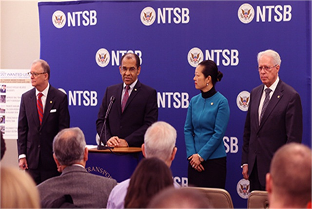 """NTSB Chairman Christopher Hart (second from left) discussesthe agency's """"most wanted"""" list at a press conference in Washington, D.C., on Jan. 13."""