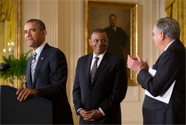 President Obama announced Anthony Foxx as the nominee for Transportation Secretary on April 29. Official White House photo by Pete Souza.