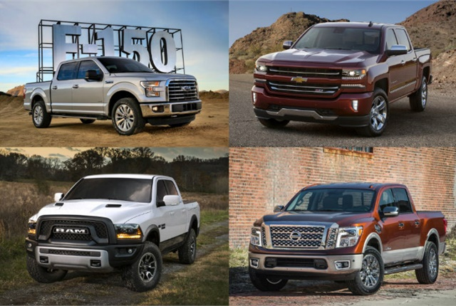 Photo of 2017-MY half-ton pickups courtesy of Ford, GM, FCA, and Nissan.