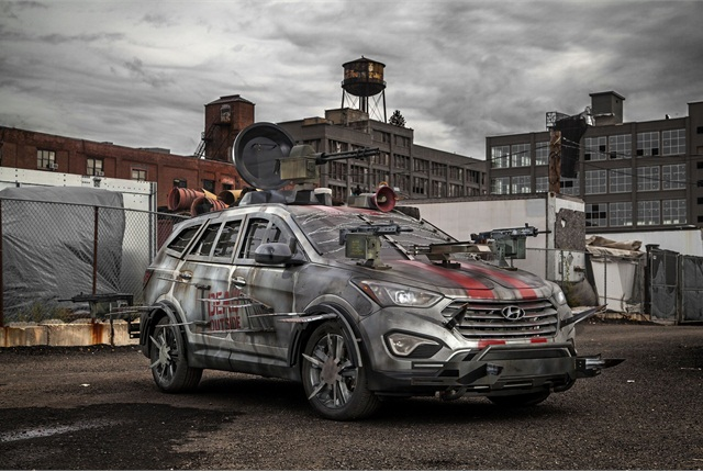 """Hyundai asked fans of the """"Walking Dead"""" television series to design the ultimate zombie survival machine. The winning entry was based on the Hyundai Santa Fe Sport."""
