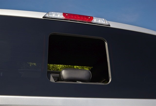 The 2015 Ford F-150's new seamless sliding rear window design. Photo courtesy of Ford.