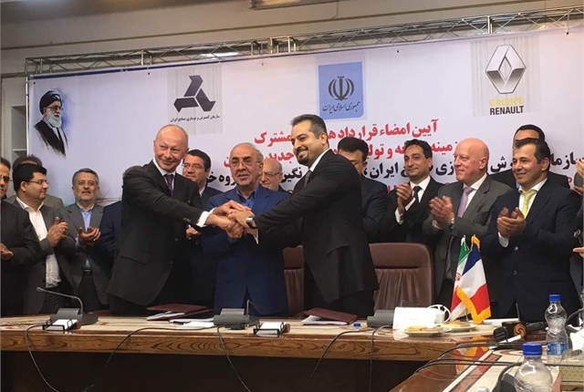 (l. to r.) Thierry Bolloré, member of Groupe Renault executive committee and chief competitive officer; Mansour Moazzami, deputy minister and head of IDRO; Kourosh Morshed Solouk, managing director of NH Group.