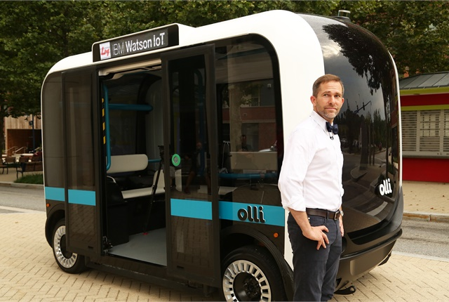 Local Motors CEO John B. Rogers Jr. introduces Olli, an autonomous vehicle, on June 16 in Fort Washington, Md. Photo courtesy of IBM.