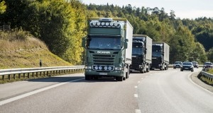 Example of an autonomous truck platoon. Photo: Scania
