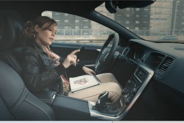 Screen capture of self-driving car courtesy of Volvo, via YouTube.