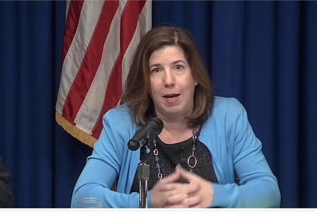 PennDOT Secretary Leslie Richards addresses a Dec. 12 public forum about the state's proposed policy on autonomous vehicle testing. Screen shot courtesy of PennDOT.