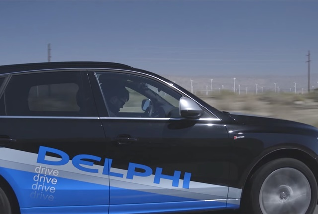 Screen shot of one of Delphi's self-driving test cars courtesy of Delphi via YouTube.