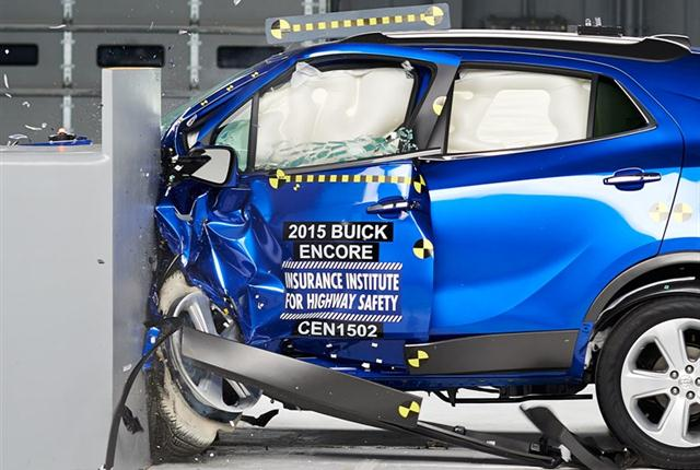 Photo of the Encore's small overlap front test courtesy of IIHS.