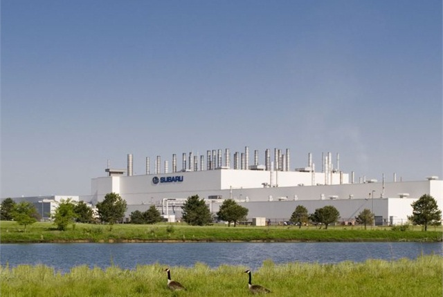 Photo of Subaru of Indiana Automotive (SIA) assembly plant courtesy of Subaru.