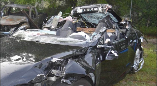 Joshua Brown's Tesla sedan, after the crash with a truck that took his life. Photo: NTSB/Florida Highway Patrol