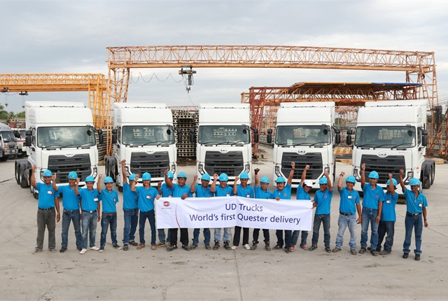 On December 16, UD Trucks delivered the first units of Quester, its all-new heavy-duty truck range, designed for growth markets in Asia, to Thailand's Asia Group, a concrete pile manufacturer which signed a deal for 15 units including a 3-year comprehensive maintenance and repair contract.Photo: UD Trucks