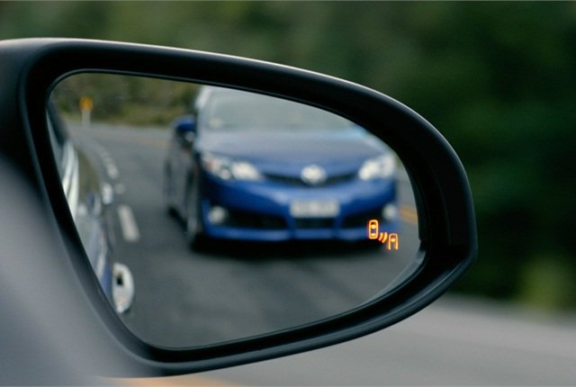 Photo of blind spot monitoring system courtesy of Toyota.