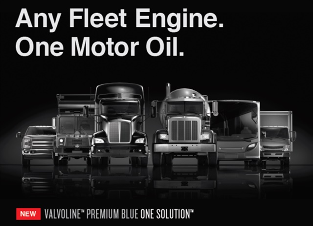 Valvoline's Premium Blue One Solution 9200 engine oil is approved for use in natural gas, diesel, and gasoline engines. Image: Valvoline