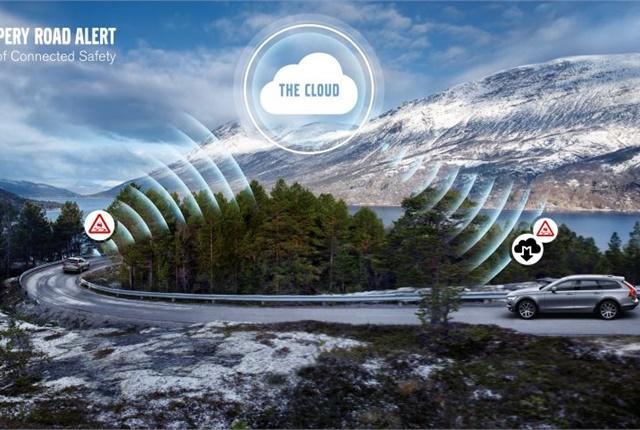 Photo graphic of slipper road alert courtesy of Volvo.