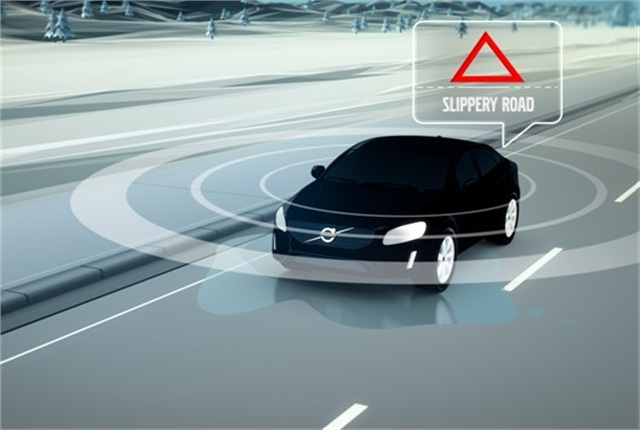The road condition warning is displayed on the instrument cluster. Graphic courtesy of Volvo Cars.