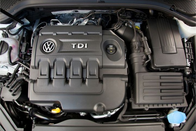 Photo of 2015 Golf TDI engine courtesy of Volkswagen.