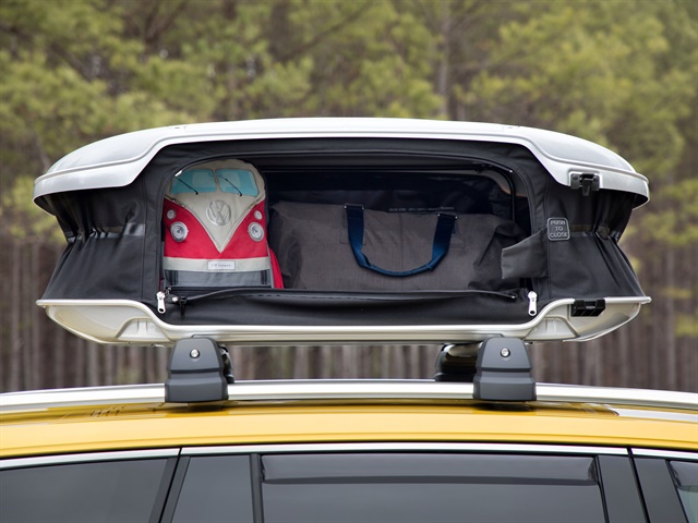 Photo of the roof-mounted cargo box on the Atlas Weekend Edition courtesy of Volkswagen.