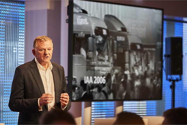 Volkwagen Truck and Bus CEO Andreas Renschler outlines the company's vision of tuture transporation at it Innovation Day summit in Hamburg, Germany. Photo: VW