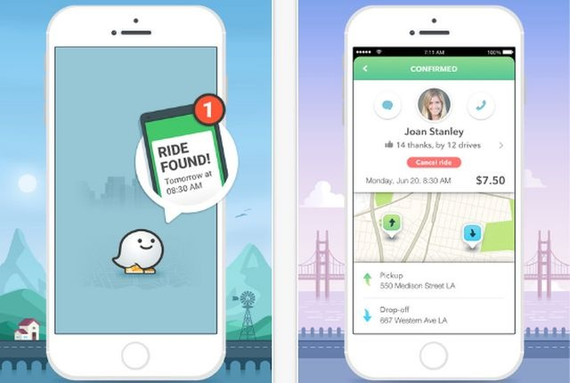 Waze Carpool screenshots via Alphabet.
