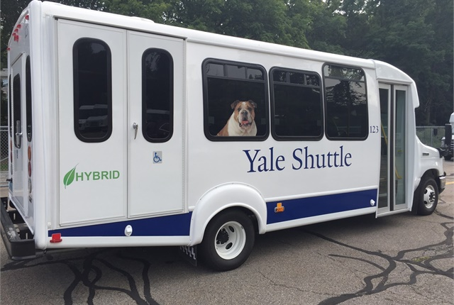 Photo of Yale University Shuttle courtesy of XL Hybrids.