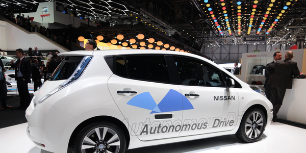 Photo of autonomous Nissan LEAF at 2014 Geneva Motor Show via Noebu/Wikimedia.