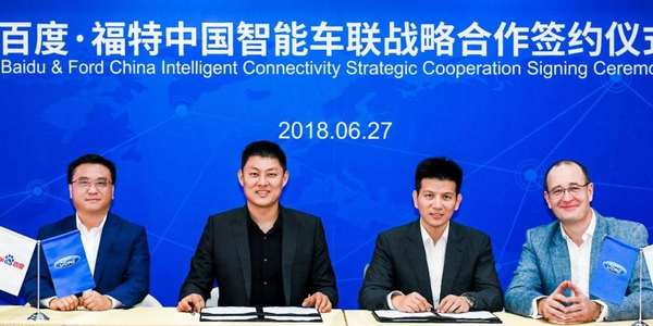 Ford and Baidu signing a letter of intent for future collaboration. Present at the signing were...