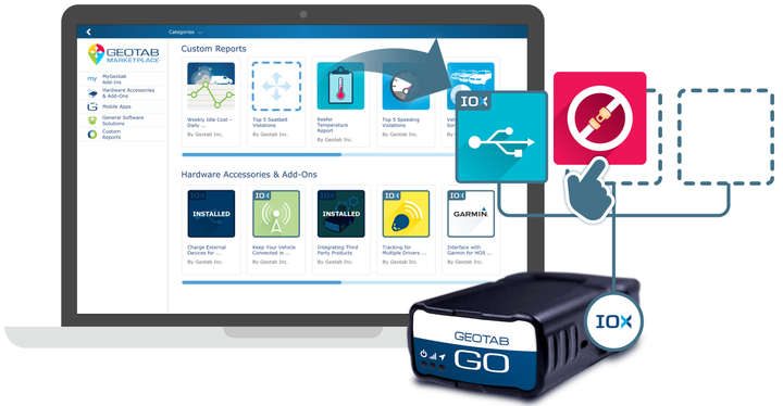 Geotab's GO OBD-II device collects telematics data from fleet vehicles, and its Markeplace provides third-party applications for fleet managers.  - Photo courtesy of Geotab.
