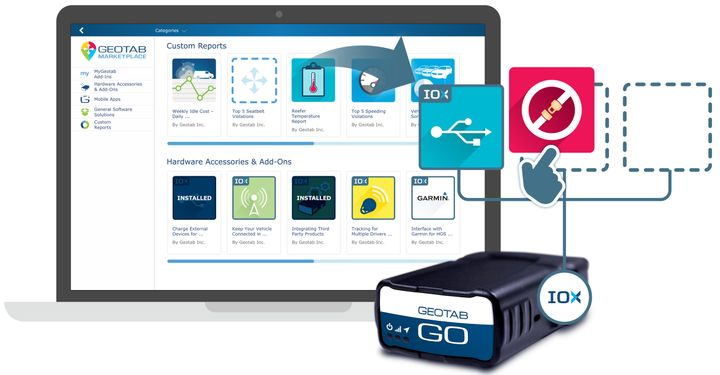 Geotab's GO OBD-II device collects telematics data from fleet vehicles, and its Markeplace provides third-party applications for fleet managers.