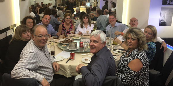 The ACFO Board of Directors and AFLA representatives at a celebratory dinner in Chinatown London...