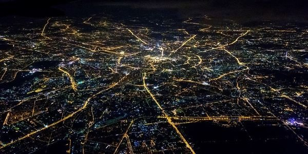 Aerial shot of Moscow roads at night.
