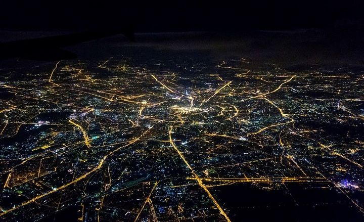 Aerial shot of Moscow roads at night. - Photo courtesy of Pixabay.