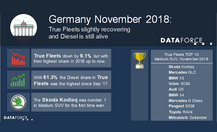 In the total German fleet market, the top automaker in terms of registrations was Volkswagen. This was followed by BMW and Mercedes-Benz in second and third place, respectively. - Infographic courtesy of Dataforce.
