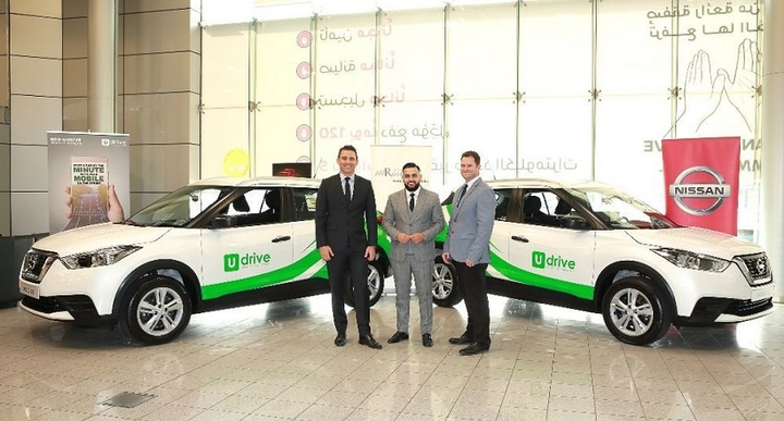 Present at the handover ceremony were (left to right) Nicolas Oswald, general manager at Arabian Automobiles Company; Hasib Khan, founder and CEO of UDrive; and Charl Timms, fleet general manager at Nissan Middle East.