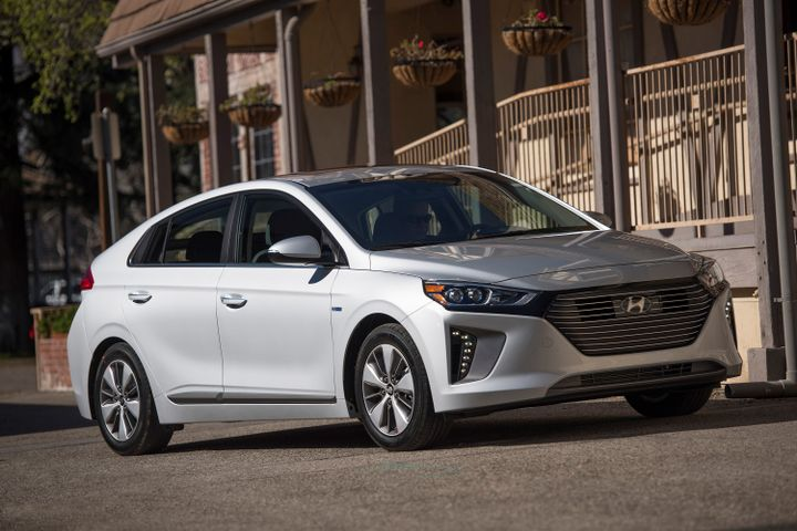 Hyundai has added a few safety options for 2019 to its Ioniq lineup that includes a battery-electric vehicle, gasoline-electric hybrid, and plug-in hybrid.  - Photo courtesy of Hyundai.