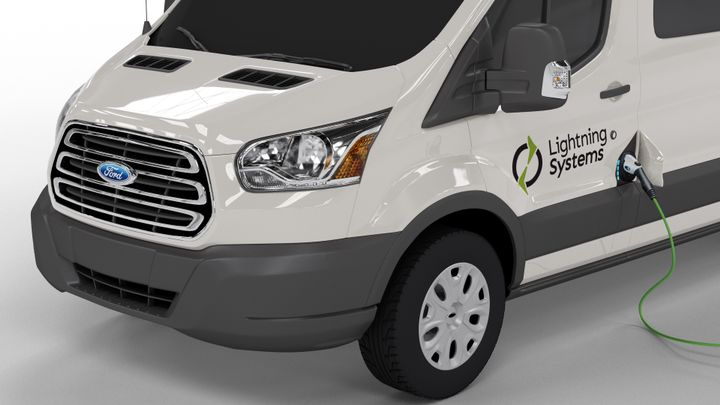 The Ford Transit 350HD equipped with the zero-emissions LightningElectric drivetrain achieves 61 MPGe in the city and 66 MPGe on the highway. - Photo courtesy of Lightning Systems.