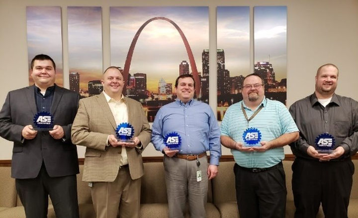 (from l. to r.) Travis Guenzler, Jason Hodge, Kelley Hatlee, Amos Eaton, and Ryan Egleston earned ASE's top certification.