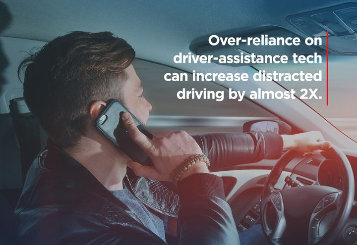 A new study has found that advanced driver assistance technology is amplifying distracted behavior. - Photo graphic courtesy of AAA.