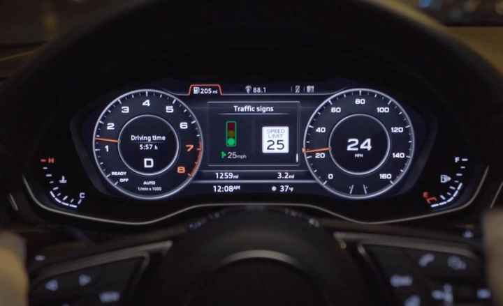 New connected-vehicle technology from Audi lets drivers know how fast to drive to make a green light down the road.  - Photo courtesy of Audi.