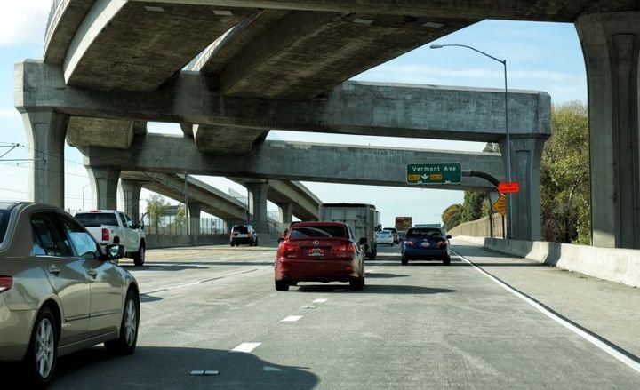 Seven states, including California (Interstate 105 shown), will receive federal transportation grants of $10.2 million.