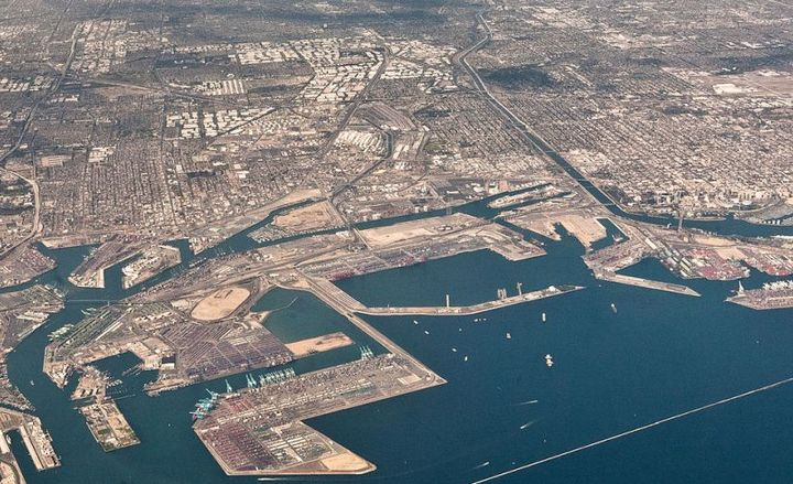 The roads with the highest cellphone use among drivers included the Los Angeles port complex (shown), according to a Lytx study.