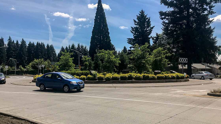 Two-land roundabouts are significantly reducing the number of crashes at intersections in the state of Washington.  - Photo courtesy of IIHS.